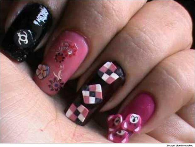 Fun-Fimo-Nail-Art-Blacks-and-pinks